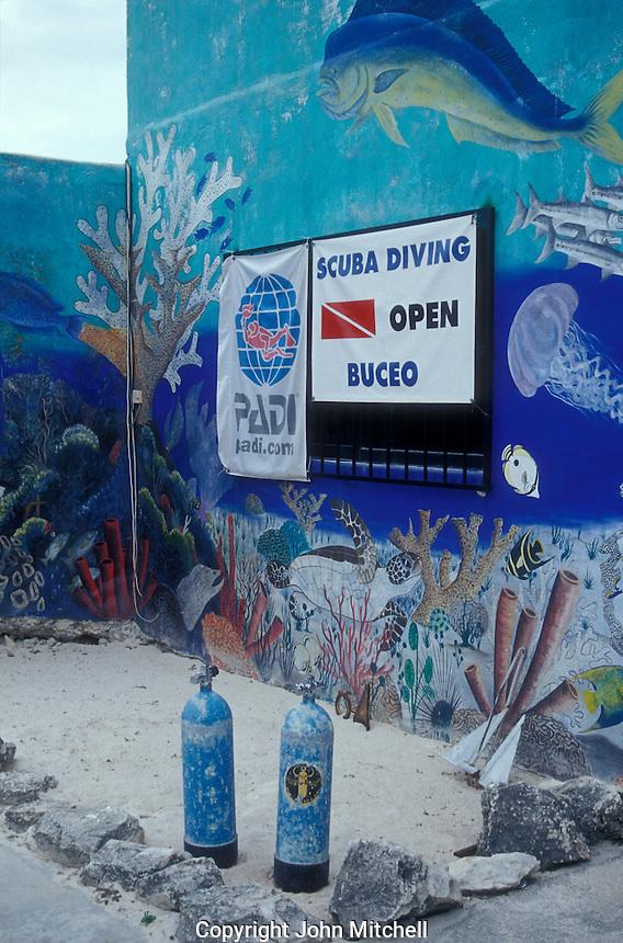 Scuba diving shop in Puerto Morelos, Quintana Roo, Mexico