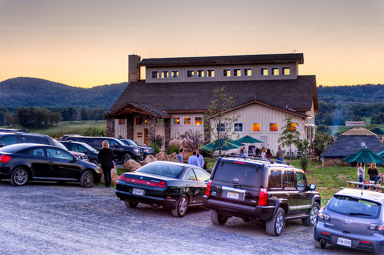 The tasting room at Barrel Oak Winery offers nice views of vineyards and surrounding countryside.  (HDR image at sunset)