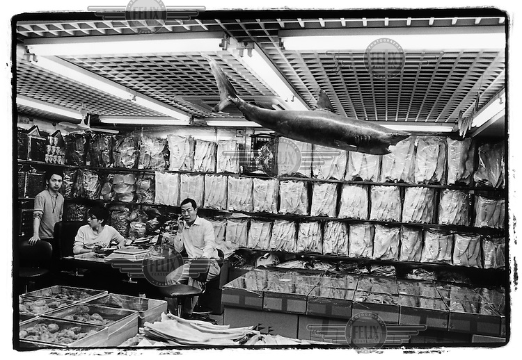 shop selling shark fins in the dried food market in Guangzhou, China. © Patrick Brown - Panos Pictures.