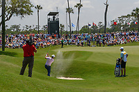 Jon Rahm (ESP) hits from the trap on 2 during round 1 of The Players Championship, TPC Sawgrass, at Ponte Vedra, Florida, USA. 5/10/2018.<br /> Picture: Golffile | Ken Murray<br /> <br /> <br /> All photo usage must carry mandatory copyright credit (&copy; Golffile | Ken Murray)