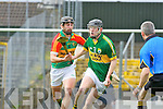 Padraig Boyle Kerry and Des Shaw Carlow in action Allianz Hurling league clash in Fitzgerald Stadium on Sunday
