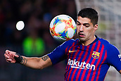 30th January 2019, Camp Nou, Barcelona, Spain; Copa del Rey football, quarter final, second leg, Barcelona versus Sevilla; Luis Suarez of FC Barcelona controls the ball in the air