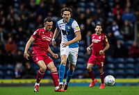 Blackburn Rovers' Sam Gallagher competing with Nottingham Forest's Jack Robinson (left) <br /> <br /> Photographer Andrew Kearns/CameraSport<br /> <br /> The EFL Sky Bet Championship - Blackburn Rovers v Nottingham Forest - Tuesday 1st October 2019  - Ewood Park - Blackburn<br /> <br /> World Copyright © 2019 CameraSport. All rights reserved. 43 Linden Ave. Countesthorpe. Leicester. England. LE8 5PG - Tel: +44 (0) 116 277 4147 - admin@camerasport.com - www.camerasport.com