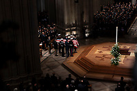December 5, 2018 - Washington, DC, United States: The casket of former President George W. Bush arrives at the National Cathedral where a state funeral is held in his honor. <br /> CAP/MPI/RS<br /> &copy;RS/MPI/Capital Pictures