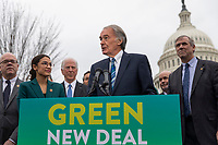 """Senator Ed Markey, Democrat of Massachusetts, speaks during a press conference to announce the """"Green New Deal"""" held at the United States Capitol in Washington, DC on February 7, 2019. Credit: Alex Edelman / CNP/AdMedia"""