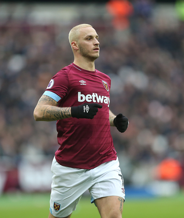 West Ham United's Marko Arnautovic<br /> <br /> Photographer Rob Newell/CameraSport<br /> <br /> The Premier League - West Ham United v Arsenal - Saturday 12th January 2019 - London Stadium - London<br /> <br /> World Copyright © 2019 CameraSport. All rights reserved. 43 Linden Ave. Countesthorpe. Leicester. England. LE8 5PG - Tel: +44 (0) 116 277 4147 - admin@camerasport.com - www.camerasport.com