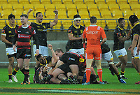 Wellington players celebrate after the final play of during the Mitre 10 Cup rugby union match between Wellington Lions and Canterbury at Westpac Stadium in Wellington, New Zealand on Sunday, 17 September 2017. Photo: Dave Lintott / lintottphoto.co.nz