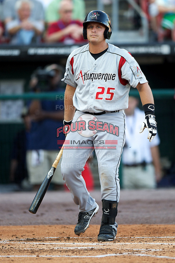 Albuquerque Isotopes catcher Tim Fereowicz #25 during the Triple-A All-Star game featuring the Pacific Coast League and International League top players at Coca-Cola Field on July 11, 2012 in Buffalo, New York.  PCL defeated the IL 3-0.  (Mike Janes/Four Seam Images)