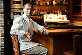 CANADA, Vancouver, British Columbia, portrait of executive chef Frank Pabst at the Blue Water Cafe Restaurant in Yaletown