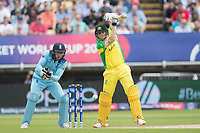 Steve Smith (Australia) pushes a  drive into the covers during Australia vs England, ICC World Cup Semi-Final Cricket at Edgbaston Stadium on 11th July 2019