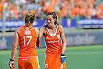 The Hague, Netherlands, June 09: During the field hockey group match (Women - Group A) between The Netherlands and Korea on June 9, 2014 during the World Cup 2014 at Kyocera Stadium in The Hague, Netherlands. Final score 3-0 (1-0)  (Photo by Dirk Markgraf / www.265-images.com) *** Local caption *** Maartje Paumen #17 of The Netherlands, Naomi van As #18 of The Netherlands
