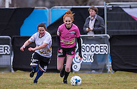 Janet Devlin (X-Factor) in action during the SOCCER SIX Celebrity Football Event at the Queen Elizabeth Olympic Park, London, England on 26 March 2016. Photo by Andy Rowland.