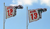 Griese and Marino flags fly as the Jets defeated the Dolphins 20-3 in Miami , FL on November 19, 2000. (Photo by Brian Cleary / www.bcpix.com)