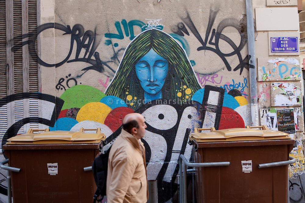 Graffiti art by 888, a Chilean artist, in the Cours Julien district of Marseille, France, 04 February 2013