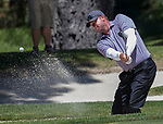 Derek Lowe chips out of a sand trap during the ACC Golf Tournament at Edgewood Tahoe Golf Course in South Lake Tahoe on Sunday, July 14, 2019.