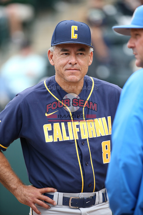 California Bears Head Coach David Esquer (8) before a game against the UCLA Bruins at Jackie Robinson Stadium on March 25, 2017 in Los Angeles, California. UCLA defeated California, 9-4. (Larry Goren/Four Seam Images)