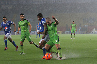 BOGOTA -COLOMBIA, 28-02-2017.Action game between Milonarios and Equidad during match  for the date 6 of the Aguila League I 2017 played at Nemesio Camacho El Campin stadium . Photo:VizzorImage / Felipe Caicedo  / Staff