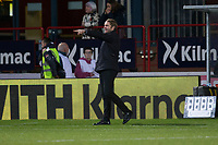 8th November 2019; Dens Park, Dundee, Scotland; Scottish Championship Football, Dundee Football Club versus Dundee United; Dundee United manager Robbie Neilson gets animated on the sideline - Editorial Use