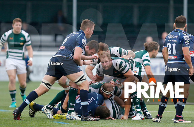 Ealing's Mark Bright keeps an eye on the opposition during the Greene King IPA Championship match between Ealing Trailfinders and Bedford Blues at Castle Bar , West Ealing , England  on 29 October 2016. Photo by Carlton Myrie / PRiME Media
