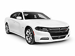 White 2015 Dodge Charger RT Road and Track sports car isolated on white background with clipping path