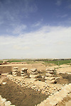 Israel, Negev desert, Tel Beer Sheba, remains of a four room house at the Biblical city of Beer Sheba, UNESCO World Heritage Site
