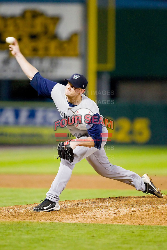 Relief pitcher Shane Lindsay #27 of the Charlotte Knights delivers a pitch to the plate against the Pawtucket Red Sox at McCoy Stadium on June 14, 2011 in Pawtucket, Rhode Island.  The Knights defeated the Red Sox 4-2 in 11 innings.    Photo by Brian Westerholt / Four Seam Images