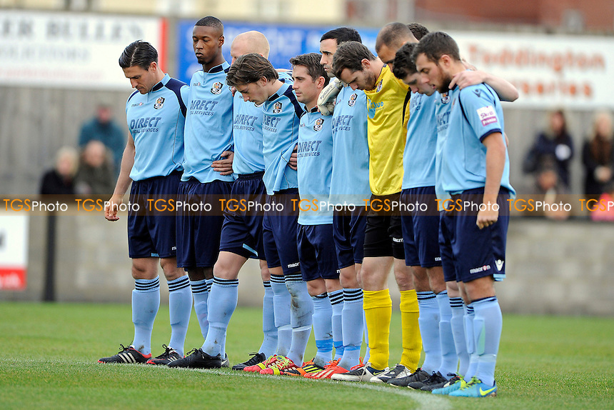 The Dartford team during the minutes silence - Salisbury City vs Dartford - FA Cup 1st Round Proper Football  at the Raymond McEnhill Stadium, Salisbury - 09/11/13 - MANDATORY CREDIT: Denis Murphy/TGSPHOTO - Self billing applies where appropriate - 0845 094 6026 - contact@tgsphoto.co.uk - NO UNPAID USE
