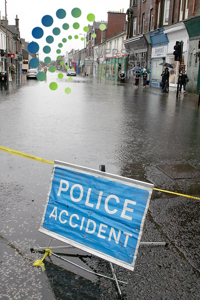 Troon's Portland Street is Flooded with water coming back up out of the drains. The only bit of dry road is  small rise at Troon Cross. With a well flooded Portland St. Picture: Universal News and Sport (Europe)17/10/2011