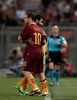 Calcio, Serie A: Roma, stadio Olimpico, 14 maggio 2017.<br /> AS Roma's Francesco Totti (r) enters to play instead of Mohamed Salah (l) during the Italian Serie A football match between AS Roma and Juventus at Rome's Olympic stadium, May 14, 2017.<br /> UPDATE IMAGES PRESS/Isabella Bonotto