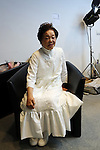 "October 19, 2016, Tokyo, Japan - Former leprosy patient Miyo Maki prepares for the ""tenbo"" 2017 spring/summer collection, designed by Takafumi Tsuruta as a part of Japan Fashion Week in Tokyo on Wednesday, October 19, 2016.   (Photo by Yoshio Tsunoda/AFLO) LWX -ytd-"