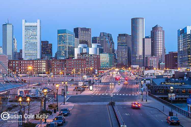 View of the downtown Boston skyline from the Innovation District, Boston, Massachusetts, USA