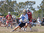 Corona Del Mar, CA 04/02/16 - Stephen Von Der Ahe (Corona Del Mar #12) and unidentified Torrey Pines player(s) in action during the non-conference game between the Nike/LM High School Boys' National Western Region #4 Torrey Pines (#4) and #5 Corona Del Mar.  Torrey Pines defeated Corona Del Mar 9-8 in overtime.