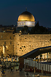 The Dome of the Rock shrine on al-Haram ash-Sharif and the Mughrabi Bridge by the Western Wall or Wailing Wall.  The Western Wall and its plaza is in the Jewish Quarter of the Old City of Jerusalem.  The Old City of Jerusalem and its Walls is a UNESCO World Heritage Site.