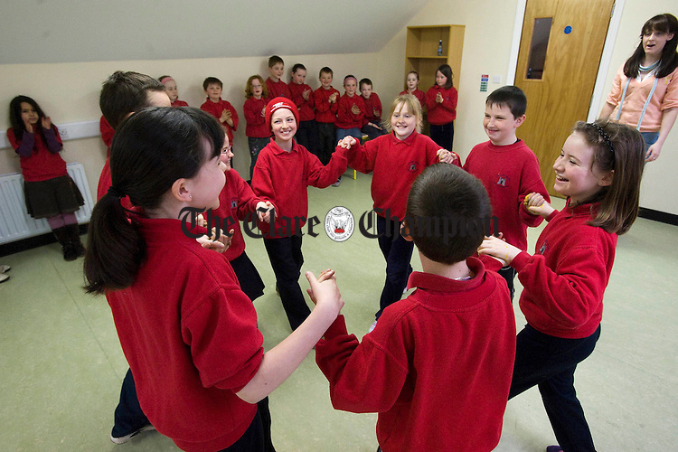Second, third and fourth class dancing sets as part of their P at Ballyvaughan NS. Photograph by John Kelly.