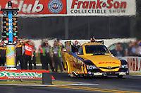 Feb. 14, 2013; Pomona, CA, USA; NHRA funny car driver Del Worsham during qualifying for the Winternationals at Auto Club Raceway at Pomona.. Mandatory Credit: Mark J. Rebilas-
