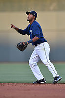 Second baseman Luis Carpio (18) of the Columbia Fireflies plays defense in a game against the Lexington Legends on Friday, April 21, 2017, at Spirit Communications Park in Columbia, South Carolina. Columbia won, 5-0. (Tom Priddy/Four Seam Images)