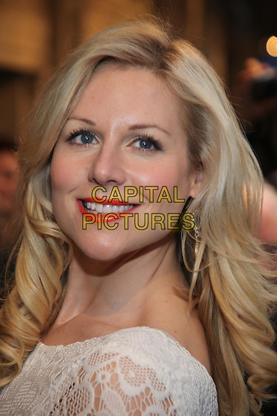 Abi Titmuss.The press night of 'The King's Speech' at Wyndhams Theatre, London, England..March 27th, 2012.headshot portrait white lace  red lipstick .CAP/JEZ  .©Jez/Capital Pictures.