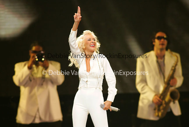 Christina Aguilera performs live to a sold out crowd during her Back To Basics Tour at The Honda Center in Anaheim, California on March 05,07.Copyright 2007 RockinExposures