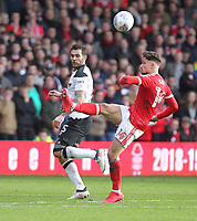 Nottingham Forest's Matty Cash  in action with Derby County's Bradley Johnson<br /> <br /> Photographer Mick Walker/CameraSport<br /> <br /> The EFL Sky Bet Championship - Nottingham Forest v Derby County - Sunday 11th March 2018 - The City Ground - Nottingham<br /> <br /> World Copyright &copy; 2018 CameraSport. All rights reserved. 43 Linden Ave. Countesthorpe. Leicester. England. LE8 5PG - Tel: +44 (0) 116 277 4147 - admin@camerasport.com - www.camerasport.com