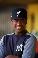 Staten Island Yankees pitcher Juan De Paula (55) in the dugout during a game against the Lowell Spinners on August 22, 2018 at Richmond County Bank Ballpark in Staten Island, New York.  Staten Island defeated Lowell 10-4.  (Mike Janes/Four Seam Images)