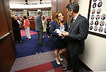 Nevada Assembly Minority Leader Marilyn Kirkpatrick, D-North Las Vegas, talks with lobbyist Michael Alonso in the final hours of the session at the Legislative Building in Carson City, Nev., on Monday, June 1, 2015. <br /> Photo by Cathleen Allison