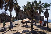Afrique/Afrique de l'Ouest/Sénégal/Gorée : Habitat et linge séchant
