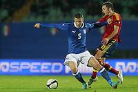 "Luca Marrone e Sarabia.Siena 13/11/2012 Stadio ""Franchi"".Football Calcio Nazionale U21.Italia v Spagna.Foto Insidefoto Paolo Nucci."