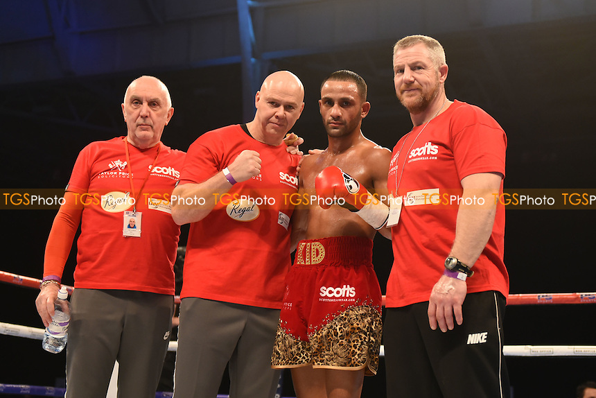 Kid Galahad (red/gold shorts) defeats Leonel Hernandez during a Boxing Show at Olympia on 4th February 2017