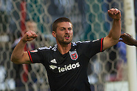 Perry Kitchen celebrates his first goal of the night. Red Bull NY rallied back to tie DC United 2-2 at RFK Stadium in Washington D.C. on Saturday April 11, 2015.