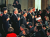 White House Network Correspondents line-up to file their live reports prior to the arrival of Prime Minister Tony Blair of Great Britain and United States President Bill Clinton for their joint press confrence in the East Room of the White House in Washington, DC on February 6, 1998.  From left to right: NBC News White House Correspondent Claire Shipman; CNN White House Correspondent Wolf Blitzer; ABC News Chief White House Correspondent Sam Donaldson; CBS News' Chief White House Correspondent Scott Pelley; and Fox News Senior White House Correspondent Jim Angle.<br /> Credit: Ron Sachs / CNP