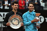 Novak Djokovic of Serbia and Rafael Nadal of Spain pose with the trophies at the end of the final match. Rafael Nadal won 6-0, 4-6, 6-1 <br /> Roma 19/05/2019 Foro Italico  <br /> Internazionali BNL D'Italia Italian Open <br /> Photo Andrea Staccioli / Insidefoto