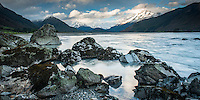 Dart River near Glenorchy with Southern Alps in background, UNESCO World Heritage Area, New Zealand, NZ