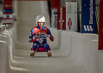 5 December 2015: Tereza Noskova, competing for the Czech Republic, crosses the finish line on her second run of the Viessmann World Cup Women's Luge, with a combined 2-run time of 1:31.431 and a 22nd place result at the Olympic Sports Track in Lake Placid, New York, USA. Mandatory Credit: Ed Wolfstein Photo *** RAW (NEF) Image File Available ***
