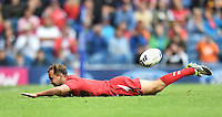 Wales's Luke Treharne celebrates scoring his sides fifth try <br /> <br /> Kenya Vs Wales - men's placing 5-8 match<br /> <br /> Photographer Chris Vaughan/CameraSport<br /> <br /> 20th Commonwealth Games - Day 4 - Sunday 27th July 2014 - Rugby Sevens - Ibrox Stadium - Glasgow - UK<br /> <br /> © CameraSport - 43 Linden Ave. Countesthorpe. Leicester. England. LE8 5PG - Tel: +44 (0) 116 277 4147 - admin@camerasport.com - www.camerasport.com